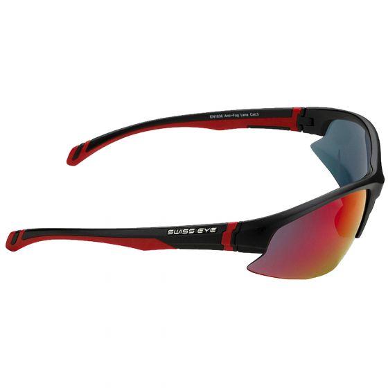 Swiss Eye Flash Sunglasses - Smoke BR Revo + Orange + Clear Lens / Black Matt Frame