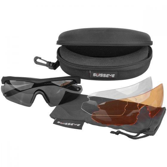 Swiss Eye Nighthawk Sunglasses - Smoke + Orange + Clear Lens / Black Rubber Frame