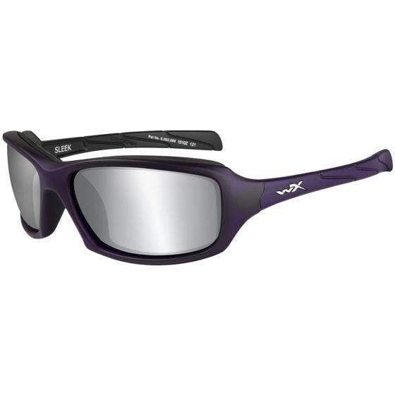 Wiley X WX Sleek Glasses - Smoke Gray Silver Flash Lens / Matte Violet Frame
