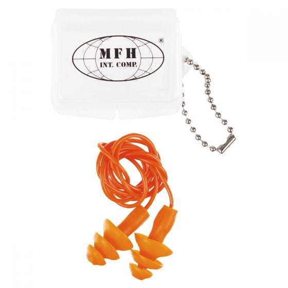 MFH Ear Plugs with Case Orange