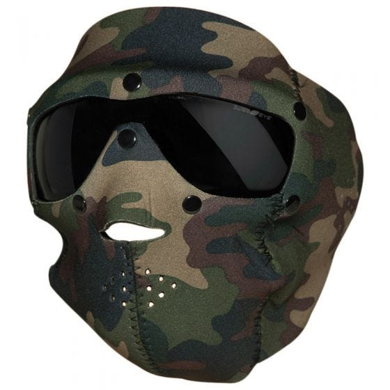 Swiss Eye Neoprene Face Mask with Integrated Goggles Woodland