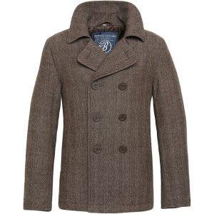 Brandit Pea Coat Brown Herringbone