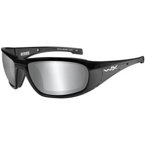 Wiley X WX Boss Glasses - Smoke Gray Silver Flash Lens / Gloss Black Frame