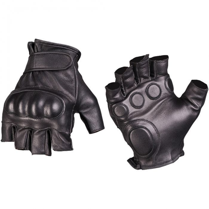 Mil-Tec Tactical Fingerless Leather Gloves Black