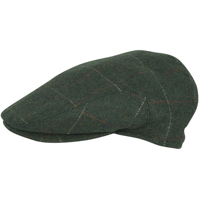 Jack Pyke Wool Blend Flat Cap Green Check