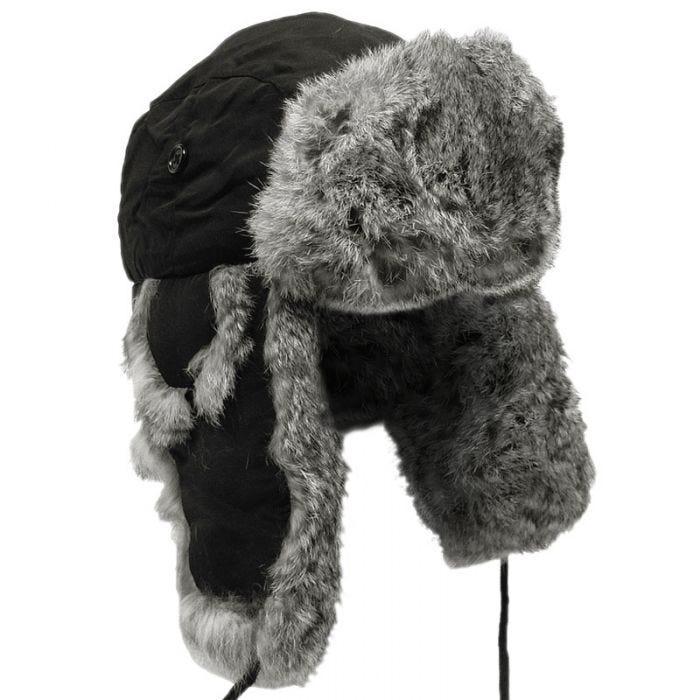 MFH Winter Cap Black with Gray Rabbit Fur
