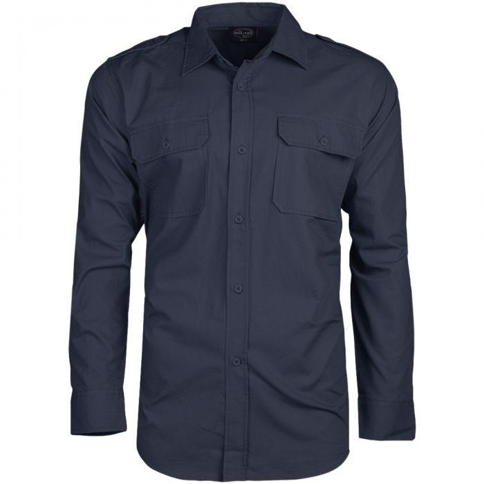 Mil-Tec RipStop Shirt Long Sleeve Navy Blue
