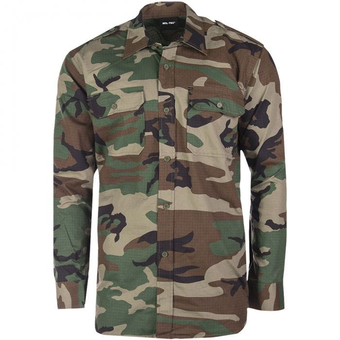 Mil-Tec RipStop Shirt Long Sleeve Woodland