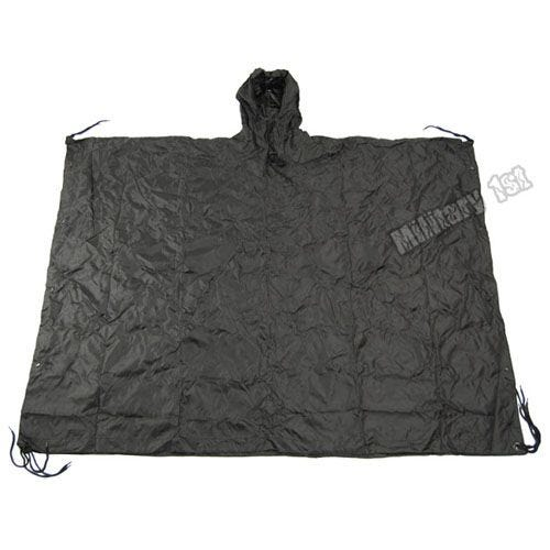 Waterproof Poncho Ripstop Black
