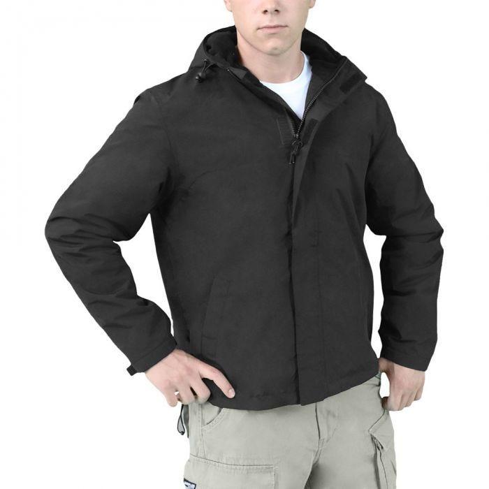 Surplus Windbreaker Jacket with Zipper Black