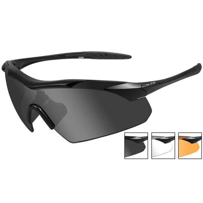 Wiley X WX Vapor Glasses - Smoke Gray + Clear + Light Rust Lens / Matte Black Frame