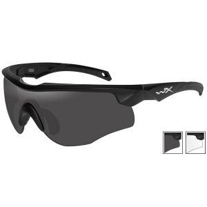 Wiley X WX Rogue Glasses - Smoke Gray + Clear Lens / Matte Black Frame