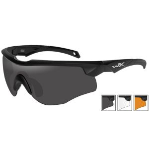 Wiley X WX Rogue Glasses - Smoke Gray + Clear + Light Rust Lens / Matte Black Frame