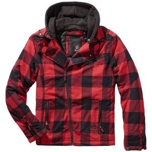 Brandit Ail Checked Flannel Biker Jacket Red/Black Checkered