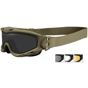 Wiley X Spear Goggles - Dual Smoke Gray + Clear + Light Rust Lens / Matte Tan Frame