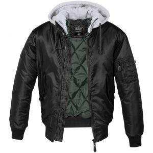 Brandit MA1 Sweat Hooded Jacket Black/Gray