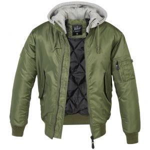 Brandit MA1 Sweat Hooded Jacket Olive/Gray