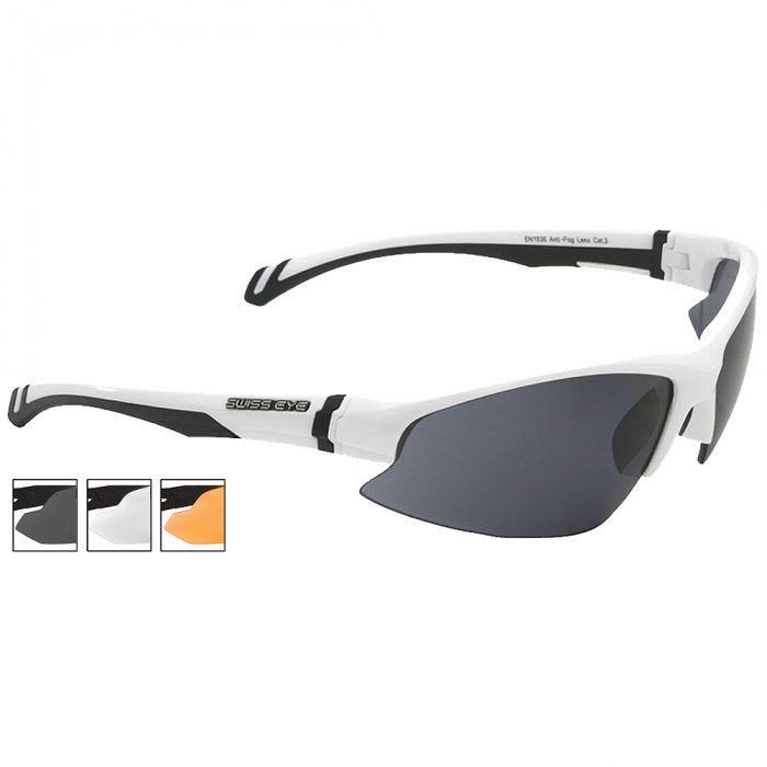 Swiss Eye Flash Sunglasses - Smoke + Orange + Clear Lens / White Shiny Frame