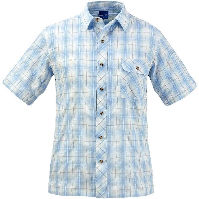 Propper Covert Button-Up Short Sleeve Shirt Light Blue Plaid
