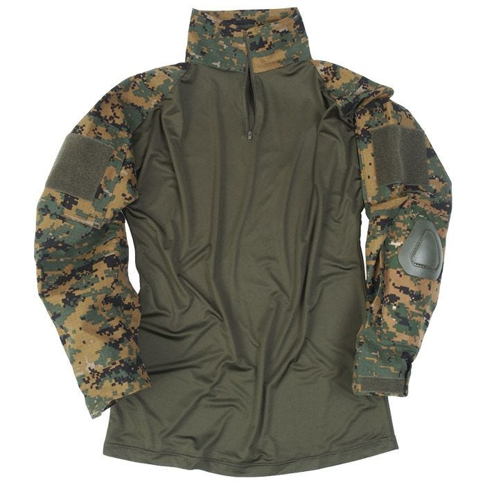 Mil-Tec Warrior Shirt with Elbow Pads Digital Woodland