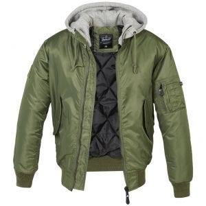 Brandit MA1 Sweat Hooded Jacket Olive/Gray