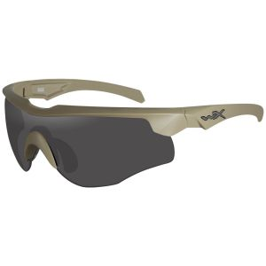 Wiley X WX Rogue COMM Glasses - Smoke Gray + Clear + Light Rust Lens / Tan Frame